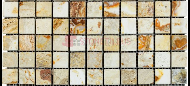 Leonardo Tumbled 1×1 Mosaic Travertine – 100% Natural
